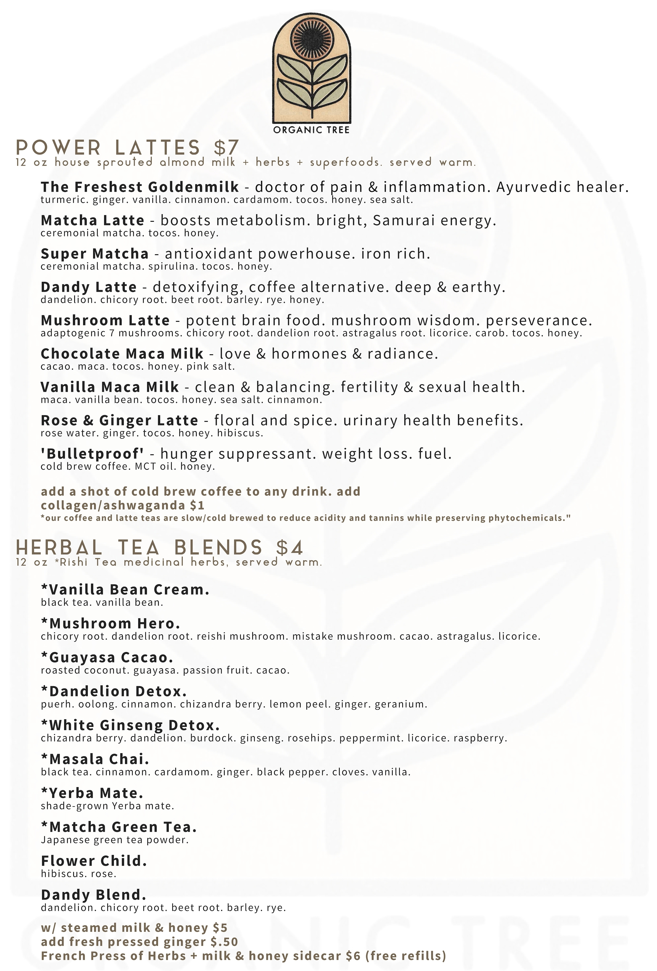 organic tree juice bar warm drink menu