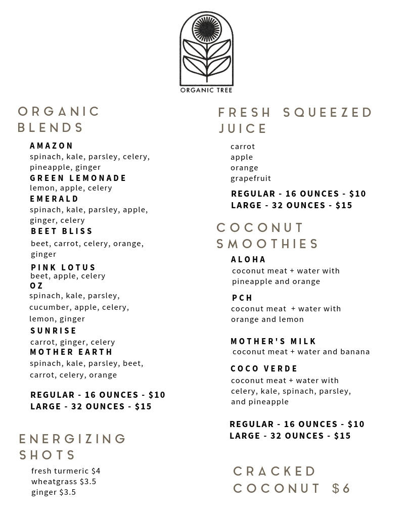 organic tree juice bar juice menu