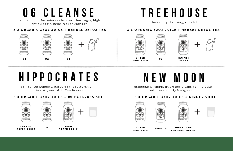 organic tree cleanse menu